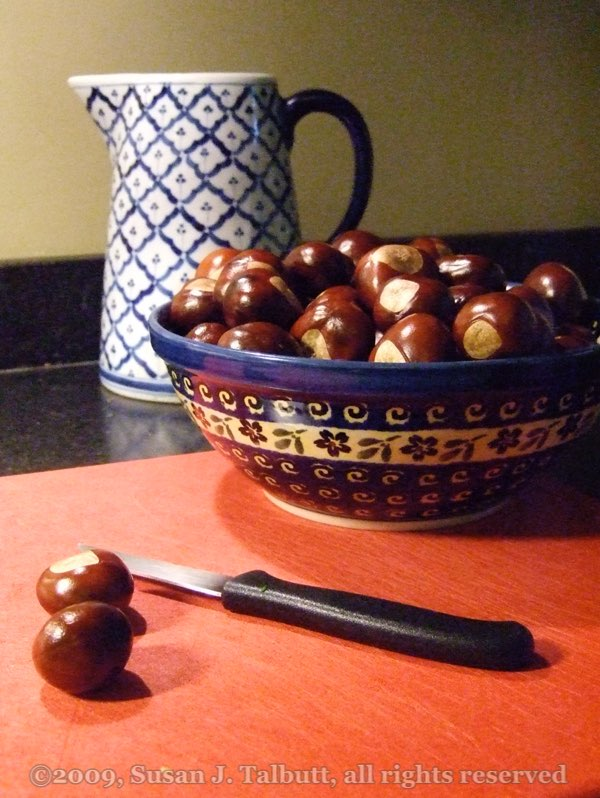Cobalt blue bowl of horse chestnuts on a dark red cutting board