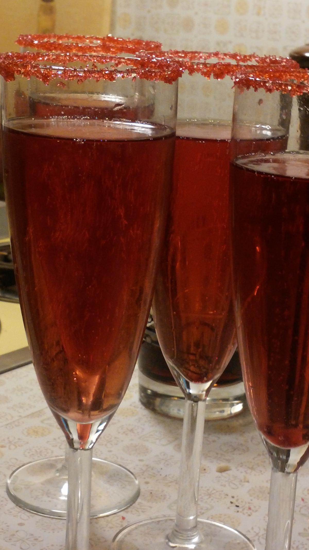 [Kir royale cocktails in flutes with sugared rims; copyright 2015, Marsha Wirtel, all rights reserved]